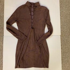 Fashion Nova Mauve bodycon laceup dress